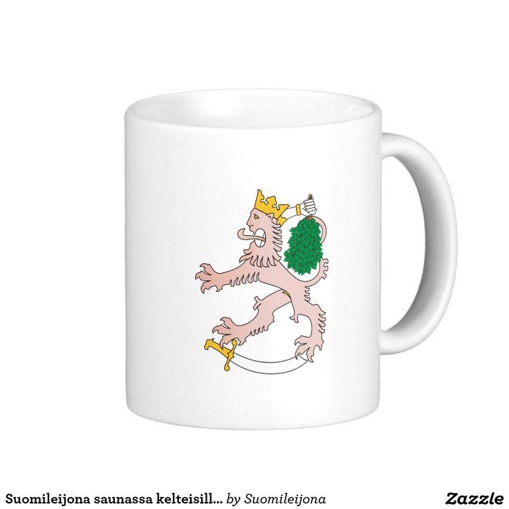 Suomileijona saunassa kelteisillään - muki basic white mug  #sauna #muki #suomi #finland #suomileijona