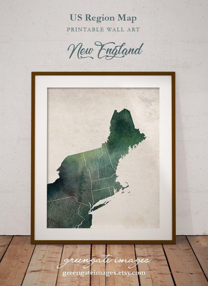 New England Map Printable.New England Wall Art New England Watercolor Printables Digital