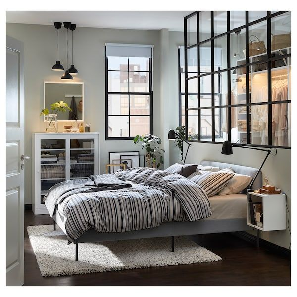 Slattum Knisa Light Grey Upholstered Bed Frame Standard Double