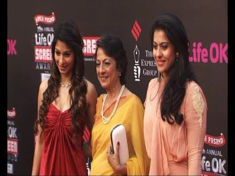 Kajol | Tanisha | Tanuja | Red Carpet of LIFE OK SCREEN AWARDS 2014.