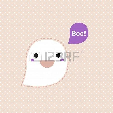 Kawaii Halloween Ghost. Vector Illustration