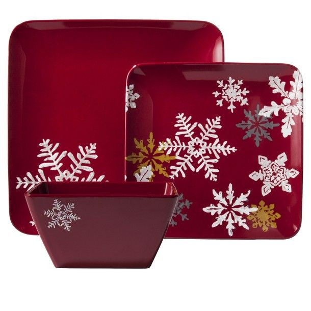 Snowflake Square 12 Piece Dinnerware Set - Red, totally cute for xmas ♥