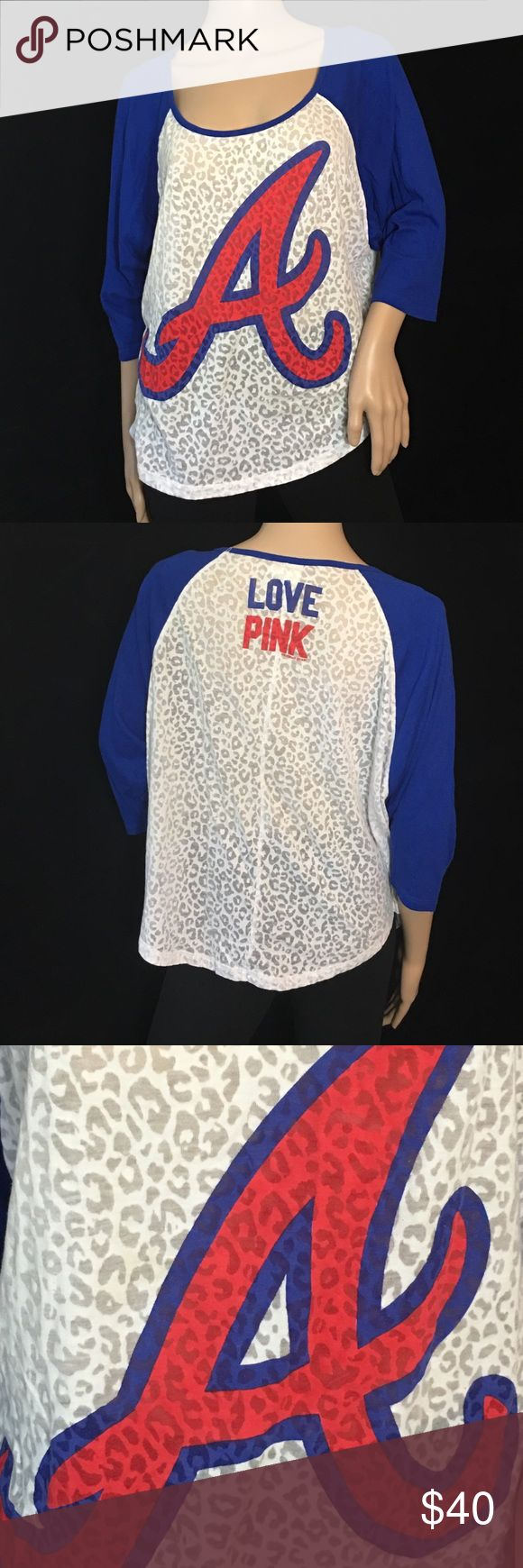VS PINK - Atlanta Braves Burnout Jersey Victoria's Secret PINK • Atlanta Braves burnout 3/4 sleeve tee • Still like new and vibrant colors • Perfect Condition • Sz M PINK Victoria's Secret Tops Tees - Long Sleeve