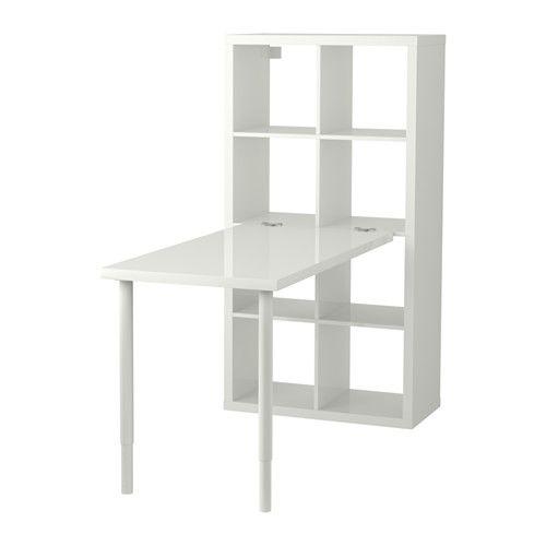 IKEA - KALLAX, Schreibtischkombination, Hochglanz/weiß, , Sieht von allen Seiten gut aus und kann auch als Raumteiler benutzt werden.Kann längs oder quer eingesetzt werden – als Regal oder Sideboard geeignet.Vorgebohrte Löcher in der Platte erleichtern das Anbringen der Tischbeine.Die Tischplatte kann in der gewünschten Höhe montiert werden, da die Beine zwischen 60 und 90 cm verstellbar sind.Der Tisch lässt sich problemlos umstellen; Kunststoffkappen schützen den Fußboden vor Kratzern.