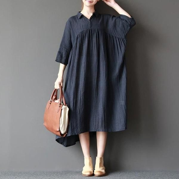 Dress - Women's 3/4 Sleeve Loose Linen Dress