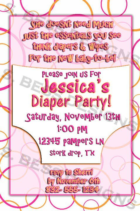 Diaper Party Invitation. What a cute idea for repeat moms!