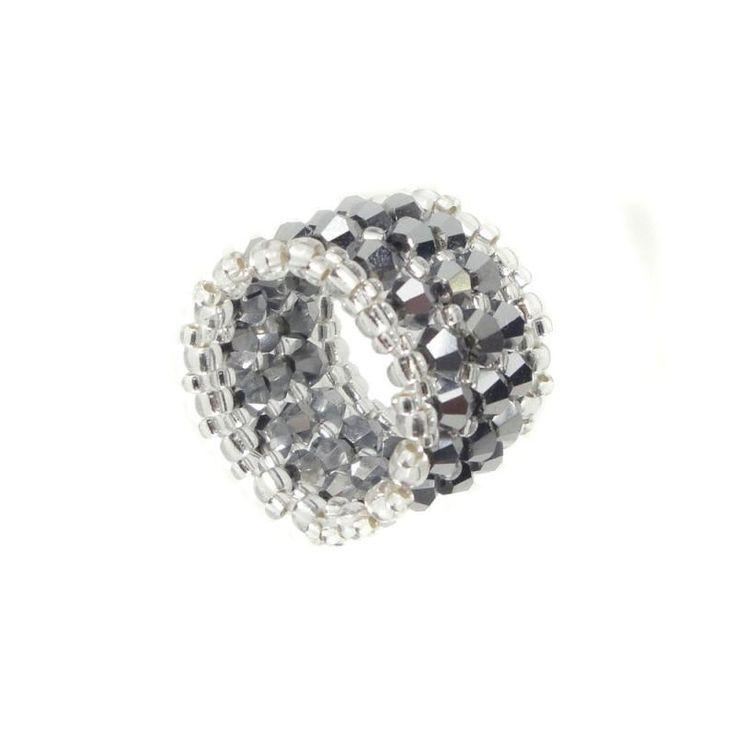 Breiter Memory Ring - Kristall Glasschliff - Jet Hämatit / Silber - ca. 18 mm breit - Handarbeit