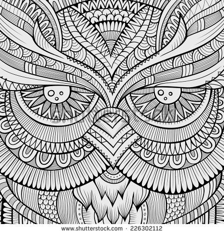 Decorative ornamental Owl background. Vector illustration