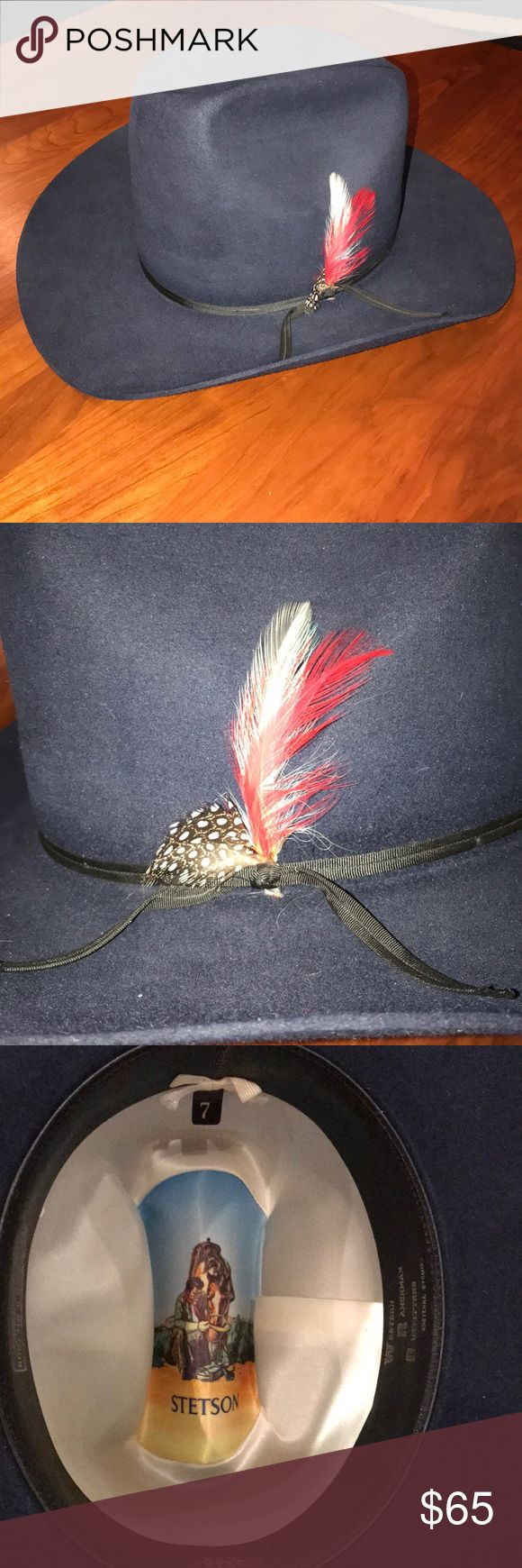 Stetson 3X Beaver Hat Navy 7 Beautiful navy Stetson XXX Beaver in great condition, no marks or stains, feather accents on band Stetson Accessories Hats