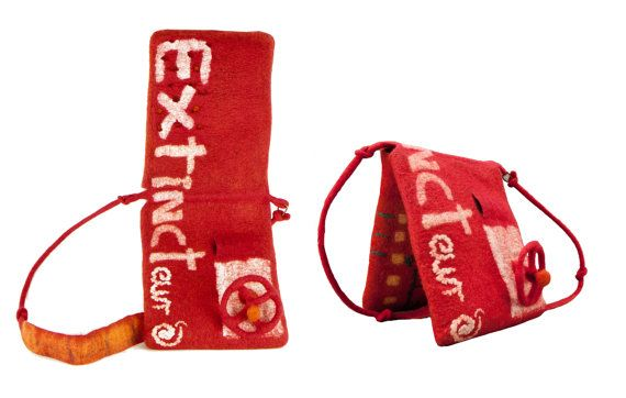 Red orange eco design messenger novelty handbag by ArianeMariane
