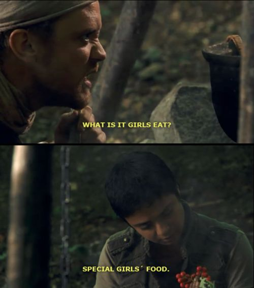 "One of the funniest scenes! I love how Djaq was just like, ""Special Girls' Food"". Robin Hood bbc"