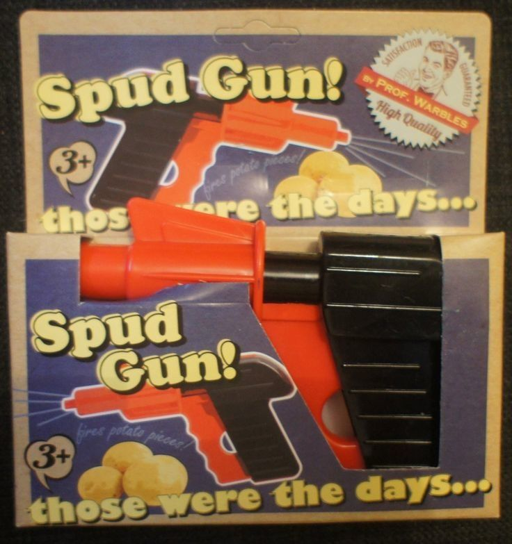 Older kids and teens will have fun with this retro Spud Gun.  Simply push the barrel into the potato and then squeeze the trigger to shoot the pellets.
