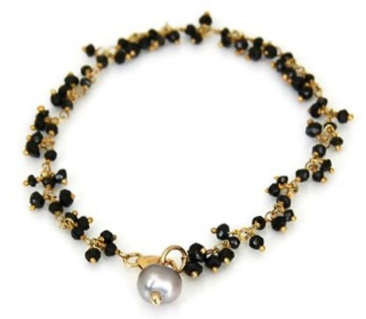 Spinel and pearl in gold fill bracelet