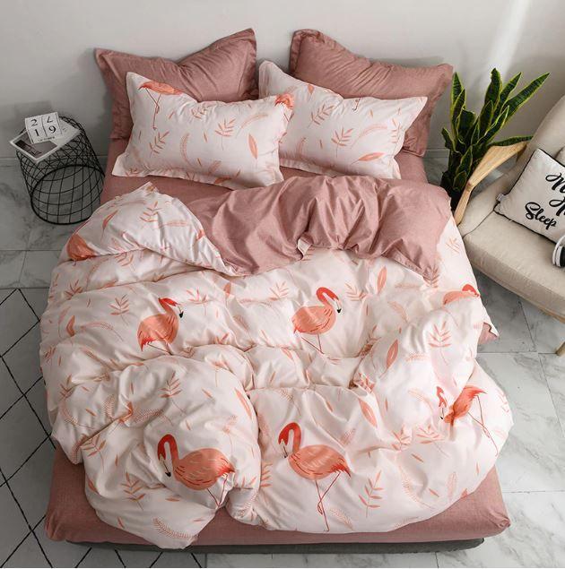 Bettwasche 4 Teiliges Set Rote Flamingos Bettwasche Set