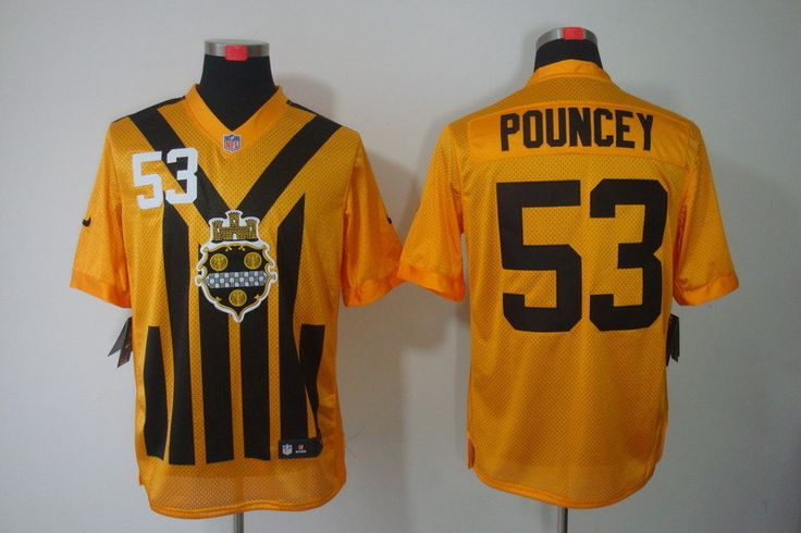 mens pittsburgh steelers 53 maurkice pouncey 1933 yellow throwback jersey · nike nflpittsburgh