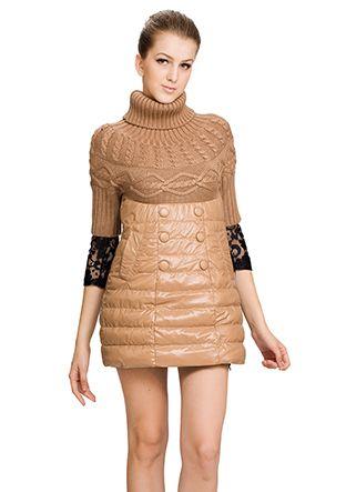 Juanita/apricot surface(90% goose filler)with woolen/short down coat