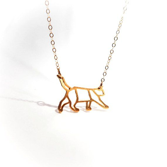 Geometric Cat Necklace Gold Filled Silver Necklace Animal Icon Jewelry Design Art Logo Gold Plated Small Pendant Minimalist Unique Cat Lover Icon Jewelry Cat Necklace Gold Cat Necklace
