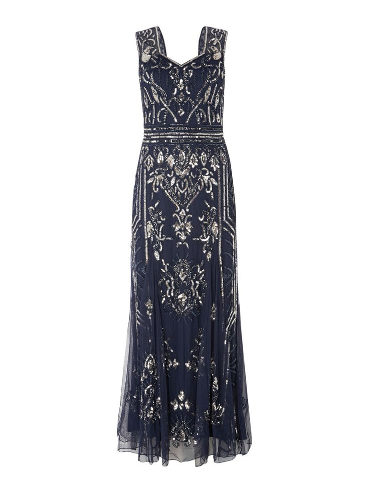 1920s Dresses, Clothing, Shoes for Sale in the UK Frock and Frill Sequin maxi dress Blue £165.00 AT vintagedancer.com