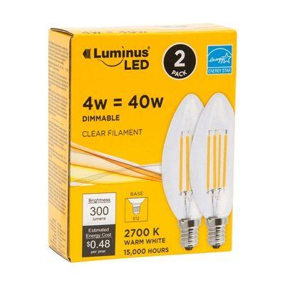 Luminus PB9202 40W Equivalent Clear Filament E12 Candelabra LED Light Bulbs (2 Pack)