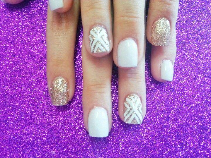 white and gold nail art