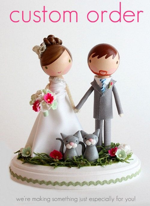 custom wedding cake topper - these are beautiful!
