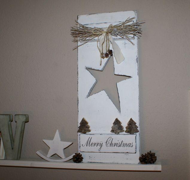 "Schild ""Merry Christmas"" Shabby Chic von white-living-art auf DaWanda.com"