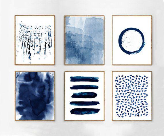 Abstract Painting Set, Large Wall Art, Indigo Blue art, Minimalist Print, Boho Wall Decor, Watercolor Print