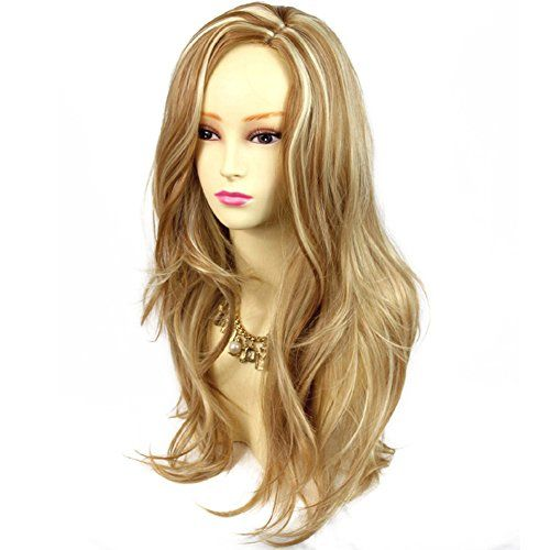 Stunning Long Wavy Blonde mix Natural Wig Sink Top Ladies Wigs -- Check this awesome product by going to the link at the image.