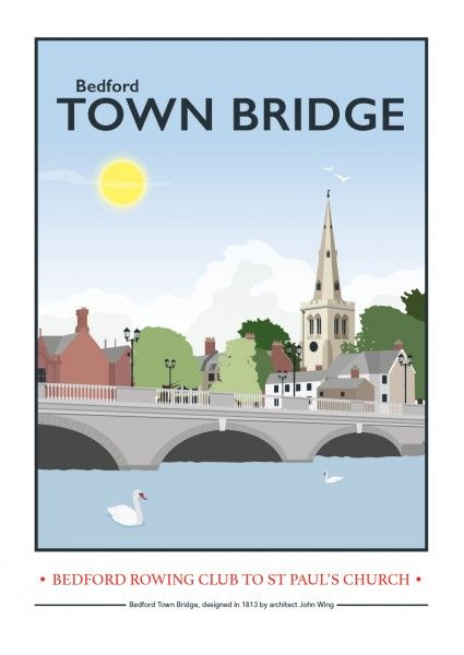 Bedford Town Bridge - Giclee print by Tabitha Mary UK #TABITHAMARY #BEDFORD #TOWN #BRIDGE #BEDFORDSHIRE