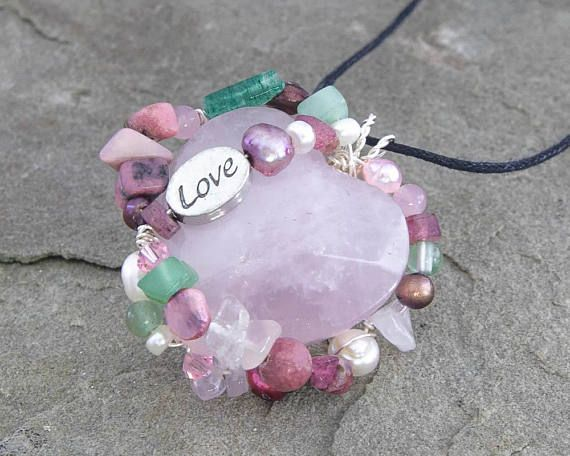 Love Amulet Wire Wrapped Pendant Healing Necklace Rose