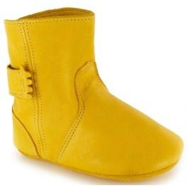 Hippe lederen pantoffel laarsjes geel easy Peasy