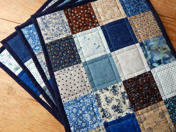 Shades of Blue Patchwork Quilted Placemats by DaedalianQuiltDesign