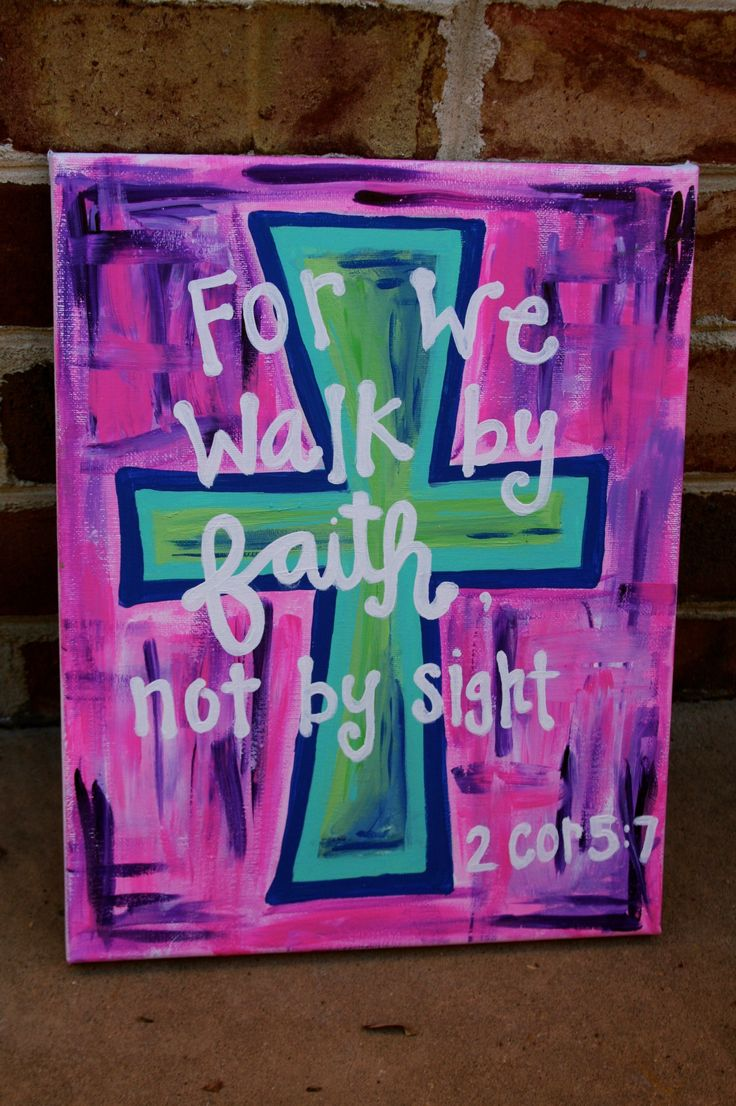 """""""for we walk by faith, not by sight"""" 2 corinthians 5:7 canvas painting"""