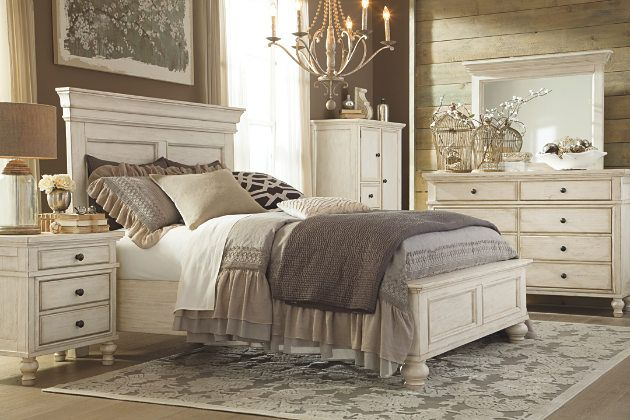 Marsilona Bedroom | Ashley Furniture -- cottage white panel headboard and footboard coupled with matching dressers and nightstands