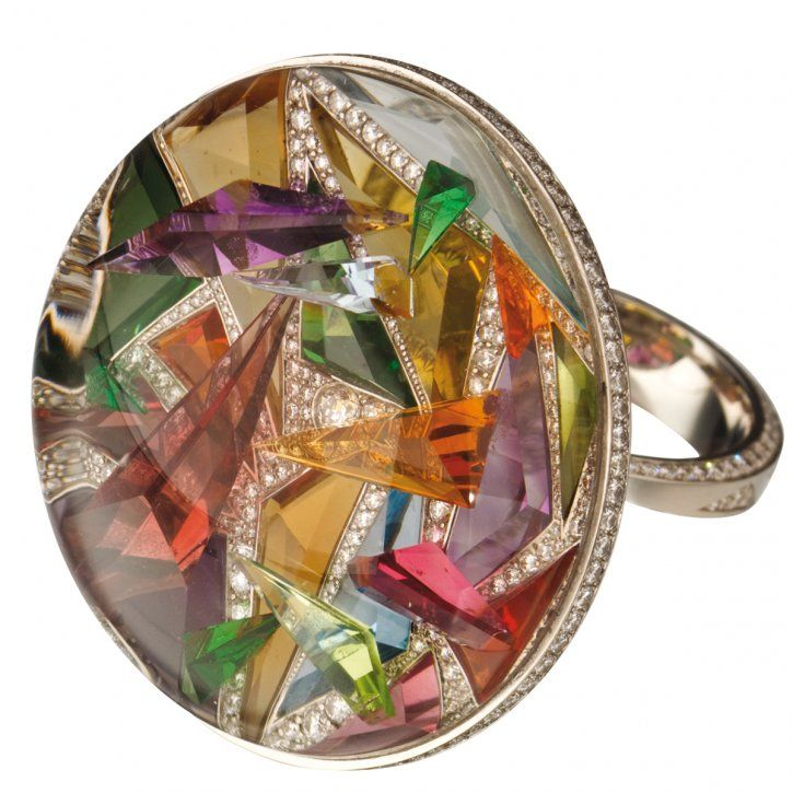Kaleidoscope X2 ring in platinum with crystal surrounding diamonds, amethysts, aquamarines, fire opals, topaz, citrines, garnets and tourmalines by J.W. Currens, New York, for the 2009 AGTA Spectrum Awards