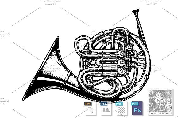 French Horn French Horn Horns How To Draw Hands