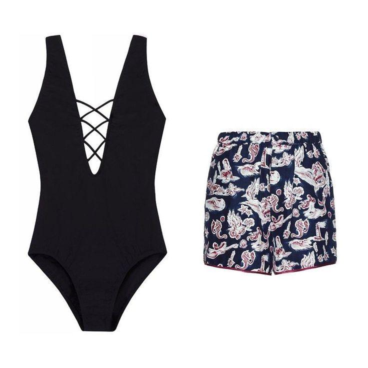 Tory Burch solid crisscross one-piece + Piamita Bettie mermaid-print silk shorts