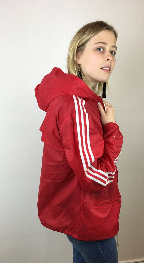 Early Red 80s Hooded Adidas Trefoil Vintage Windbreaker And White QrBdxWCoe
