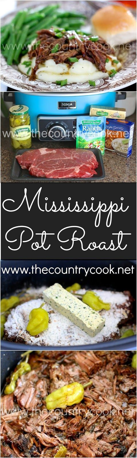 Crock Pot Mississippi Pot Roast from The Country Cook. I think this is one of the best roasts I've ever eaten or made. So good. Serve on a sandwich bun or on mashed potatoes or rice!                                                                                                                                                                                 More