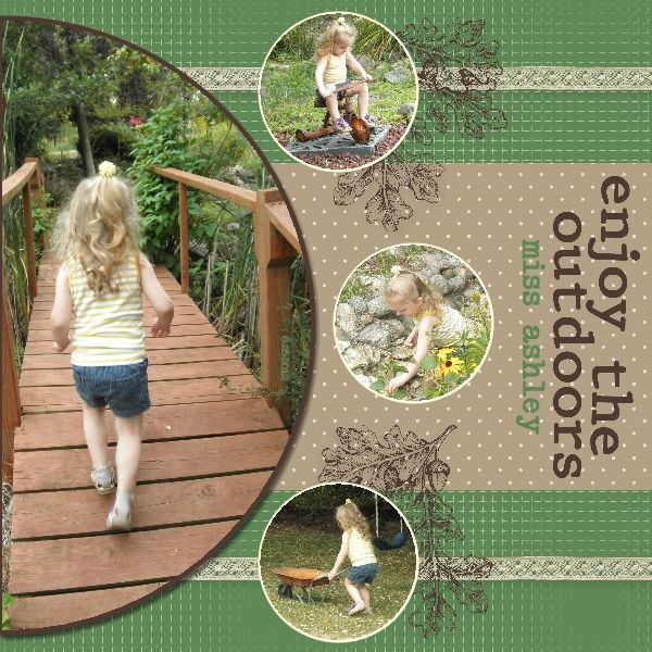 Enjoy the Outdoors scrapbook page designed with Stampin' Up!'s My Digital Studio software