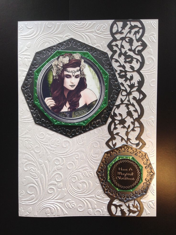 My own Pewter and green gothic xmas card.