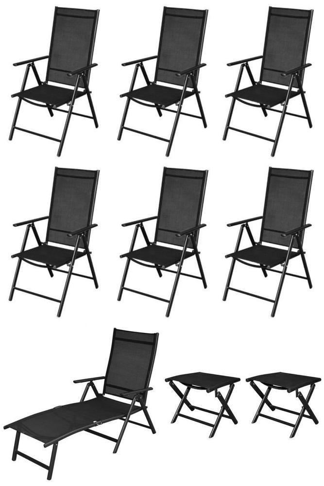 Reclining Metal Patio Chairs 9Pc Black Folding Seats Sun Lounger Stools Camping