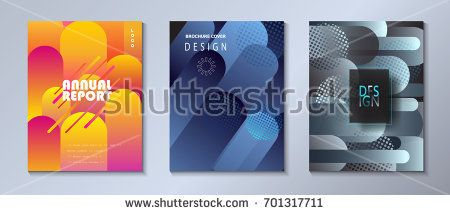 Modern brochure covers set, futuristic dynamic shapes design. Abstract geometric colored spots background. Vector annual report template minimalist poster, business concept flyer, hipster style, print