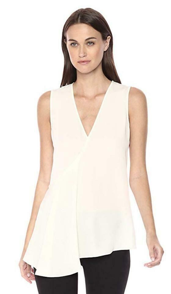 713a597d3d3 $285 NWT THEORY Fluid 100% Silk Georgette V neck Sleeveless Top ...