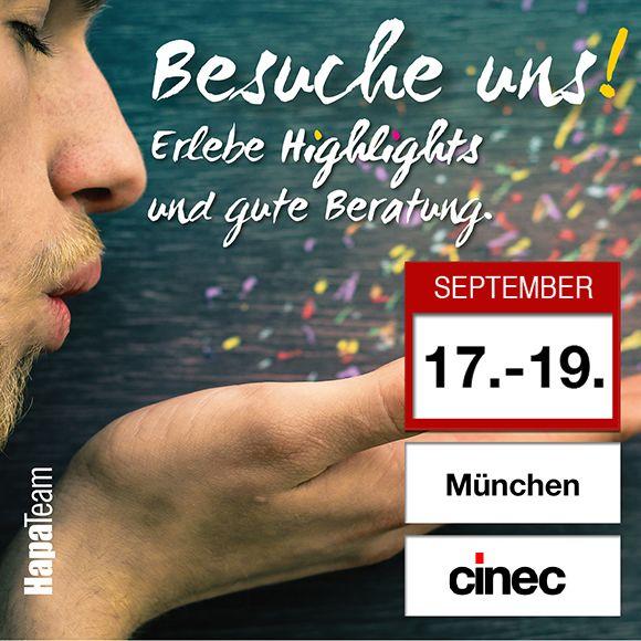 """Die cinec  ist die internationale #Fachmesse für #Filmtechnik und #Postproduktion. Besuche uns auf der """"Cinec"""" vom 17. bis 19. September im MOC in #München! (Stand Nr. 2-A10)  HapaTeam präsentiert auf der Cinec hochwertiges #Kamerazubehör. Professionelle Cinema- (Film-) Objektive, VDSLR-Wechselobjektive, Qualitätsfilter für eine hohe Bildqualität sowie hochwertige Mikrofone für den perfekten Ton."""