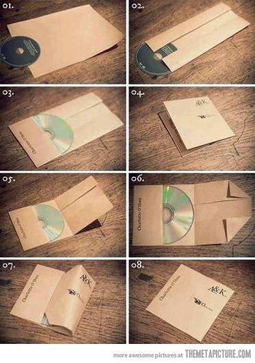 how to make a cd case. good idea for gifts I've been wanting to give! cd with photos etc :D