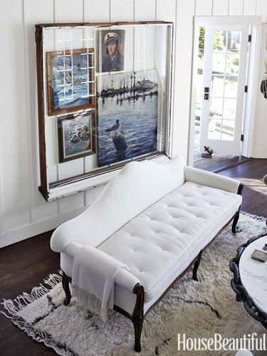 Tufted cushion on a Victorian sofa. Design: Erin Martin and Kim Dempster