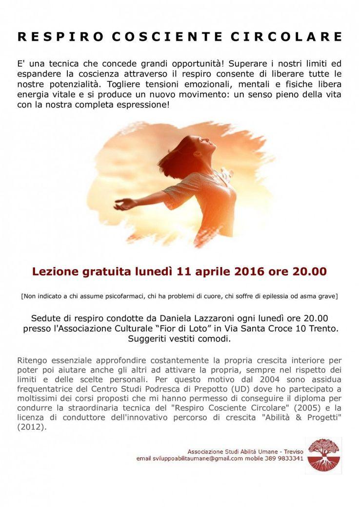 Respiro Cosciente Circolare a Trento - 11 aprile 2016 ore 20.00 - STUDI ABILITA' UMANE
