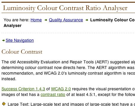 Luminosity Colour Contrast Ratio Analyser
