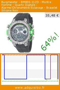 Burgmeister - BM800-112D - Montre Homme - Quartz Digitale - Alarme/Chronomètre/Eclairage - Bracelet Silicone Noir (Montre). Réduction de 64%! Prix actuel 35,48 €, l'ancien prix était de 99,00 €. http://www.adquisitio.fr/burgmeister/bm800-112d-montre-homme